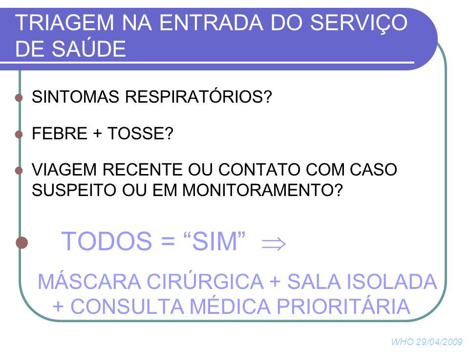 TRIAGEM NA ENTRADA DO SERVIÇO DE SAÚDE SINTOMAS RESPIRATÓRIOS.