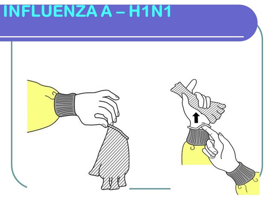INFLUENZA A – H1N1 DESPARAMENTAÇÃO Retirar Luvas Externas 1- Retirar Luvas Externas Enf.