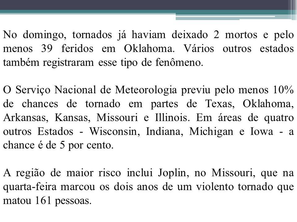 No domingo, tornados já haviam deixado 2 mortos e pelo menos 39 feridos em Oklahoma. Vários outros estados também registraram esse tipo de fenômeno. O