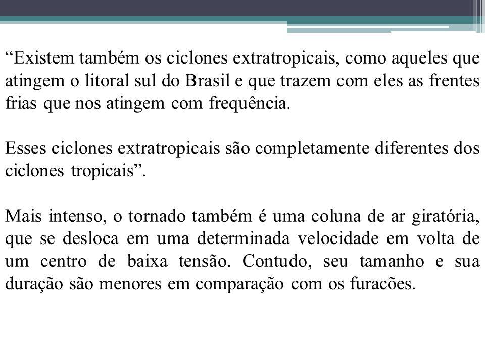 """""""Existem também os ciclones extratropicais, como aqueles que atingem o litoral sul do Brasil e que trazem com eles as frentes frias que nos atingem co"""