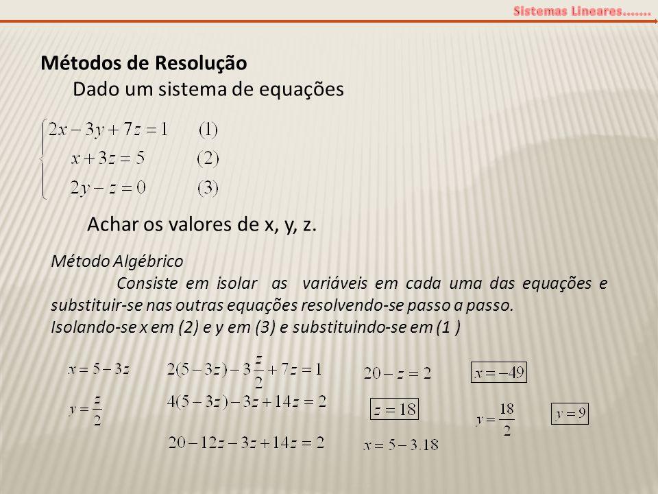 Métodos de Resolução Dado um sistema de equações Achar os valores de x, y, z. Método Algébrico Consiste em isolar as variáveis em cada uma das equaçõe