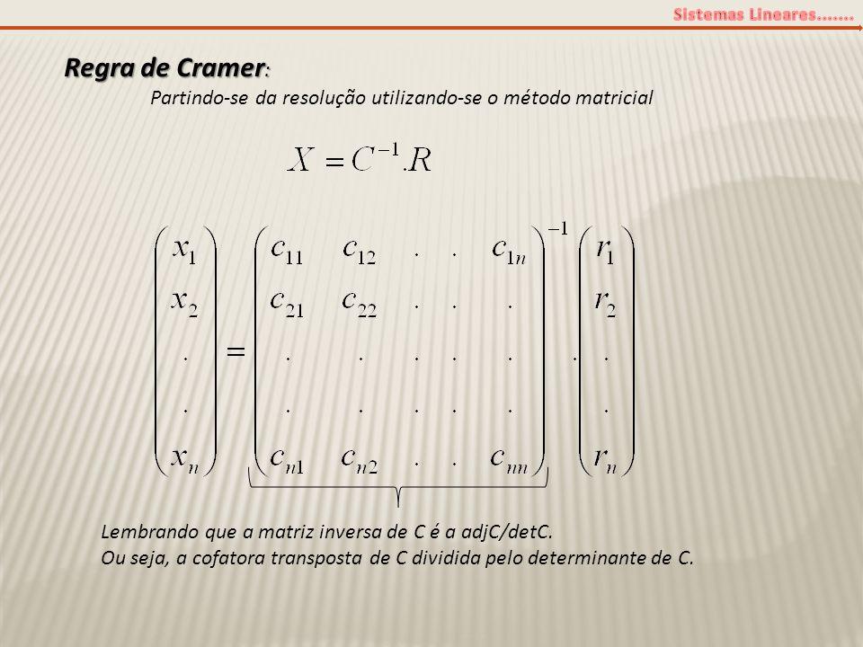 Regra de Cramer : Partindo-se da resolução utilizando-se o método matricial Lembrando que a matriz inversa de C é a adjC/detC. Ou seja, a cofatora tra