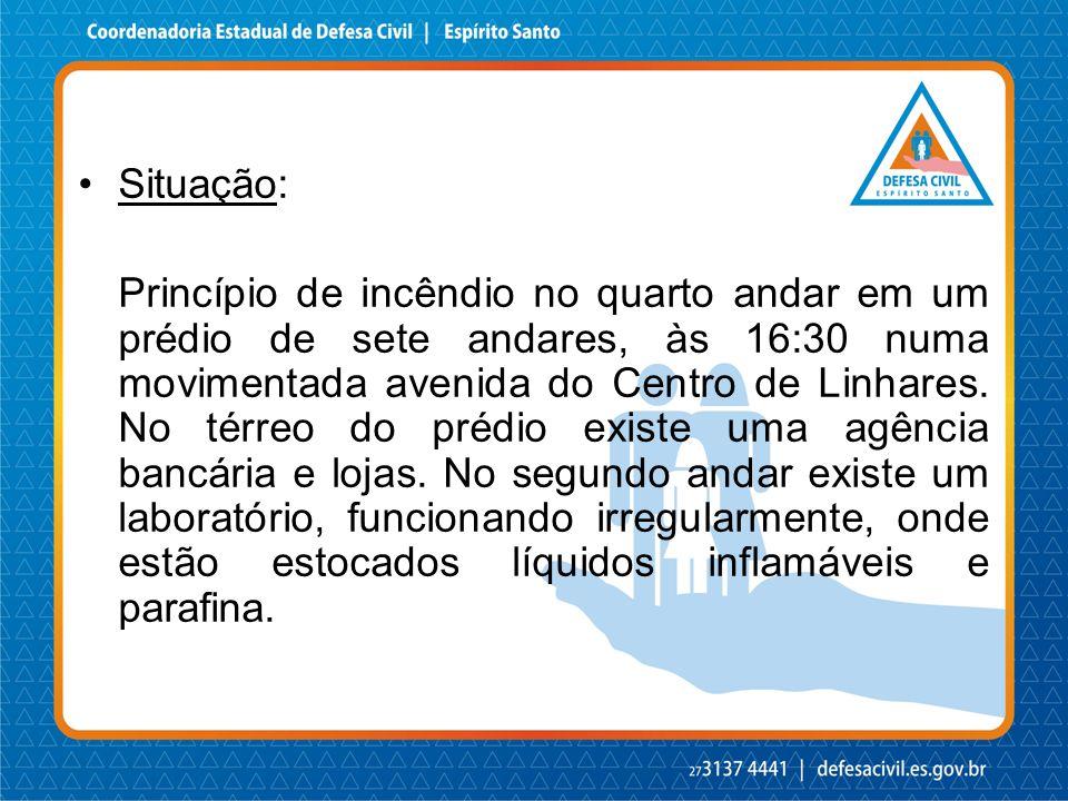 Situação: Princípio de incêndio no quarto andar em um prédio de sete andares, às 16:30 numa movimentada avenida do Centro de Linhares. No térreo do pr