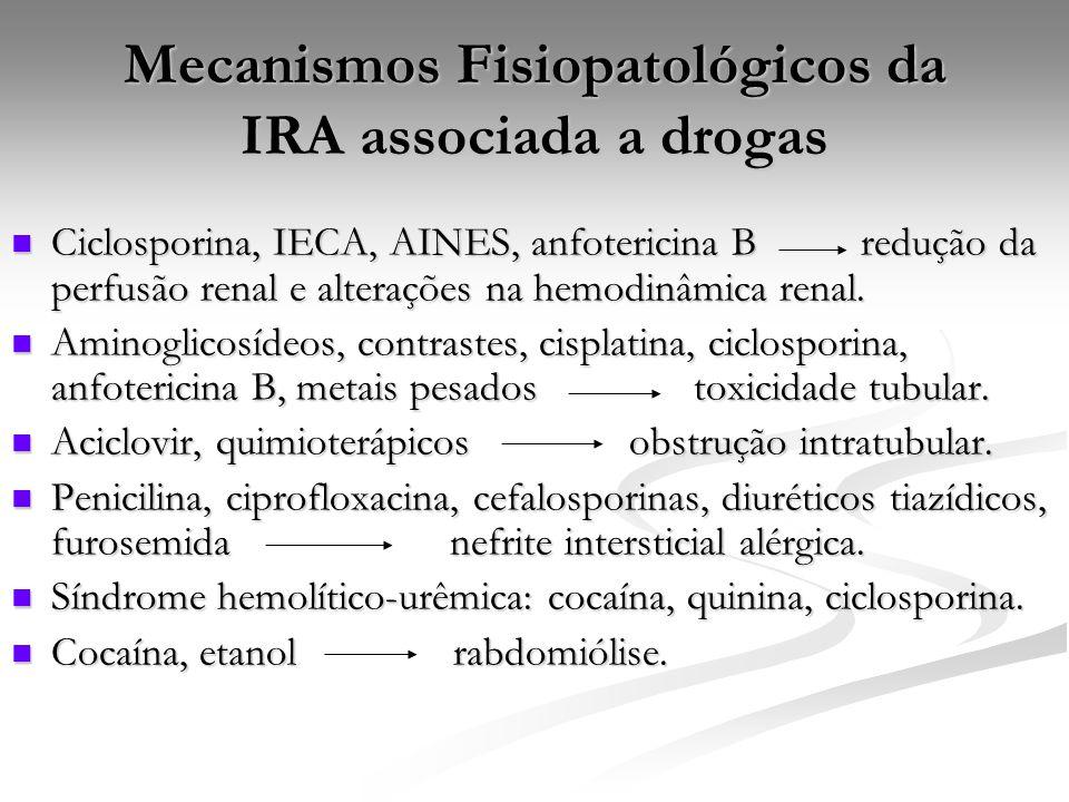 Mecanismos Fisiopatológicos da IRA associada a drogas Ciclosporina, IECA, AINES, anfotericina B redução da perfusão renal e alterações na hemodinâmica renal.