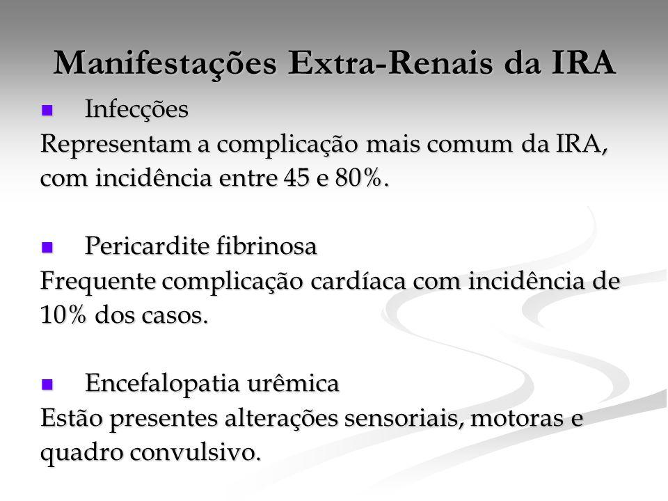 Manifestações Extra-Renais da IRA Infecções Infecções Representam a complicação mais comum da IRA, com incidência entre 45 e 80%.