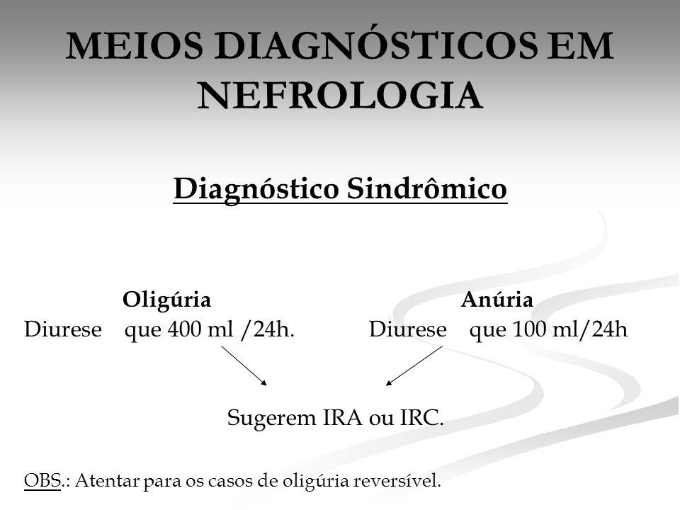 MEIOS DIAGNÓSTICOS EM NEFROLOGIA Diagnóstico Sindrômico Oligúria Anúria Diurese que 400 ml /24h.