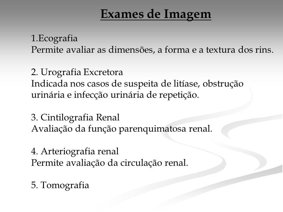 Exames de Imagem 1.Ecografia Permite avaliar as dimensões, a forma e a textura dos rins.