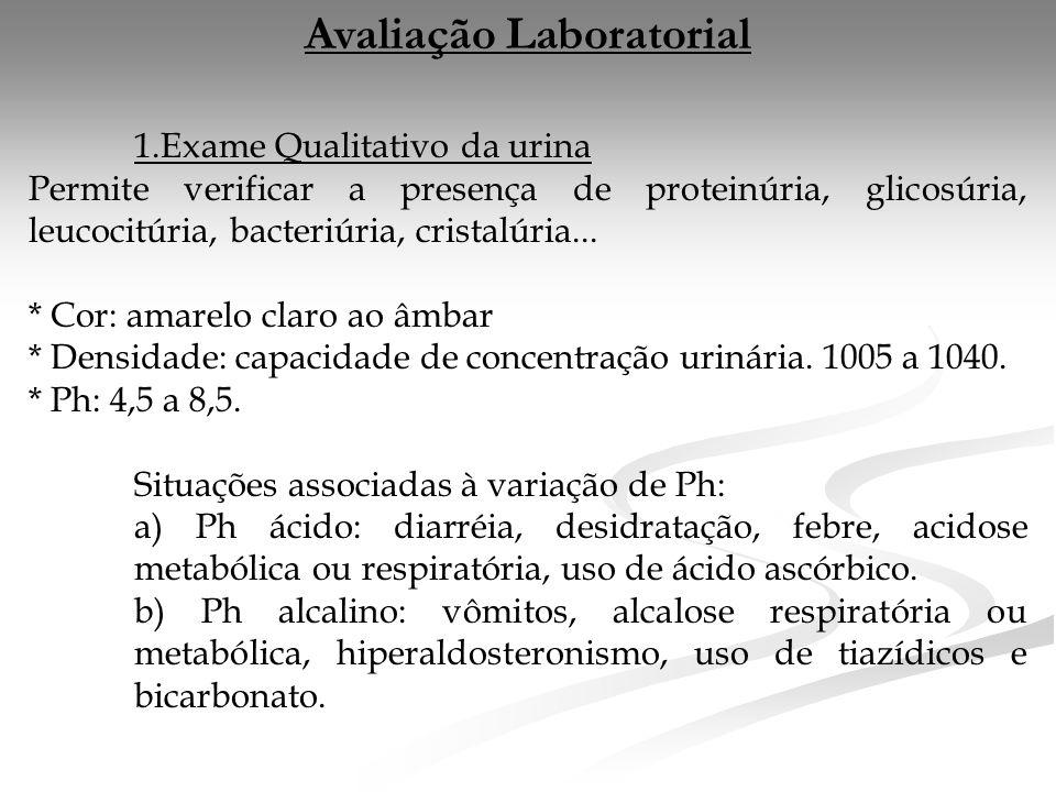 Avaliação Laboratorial 1.Exame Qualitativo da urina Permite verificar a presença de proteinúria, glicosúria, leucocitúria, bacteriúria, cristalúria...