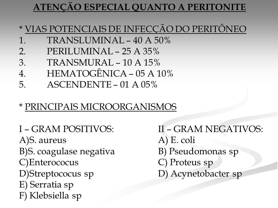 ATENÇÃO ESPECIAL QUANTO A PERITONITE * VIAS POTENCIAIS DE INFECÇÃO DO PERITÔNEO 1.TRANSLUMINAL – 40 A 50% 2.PERILUMINAL – 25 A 35% 3.TRANSMURAL – 10 A 15% 4.HEMATOGÊNICA – 05 A 10% 5.ASCENDENTE – 01 A 05% * PRINCIPAIS MICROORGANISMOS I – GRAM POSITIVOS: II – GRAM NEGATIVOS: A)S.