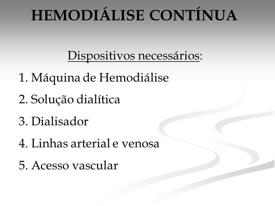 HEMODIÁLISE CONTÍNUA Dispositivos necessários: 1.Máquina de Hemodiálise 2.