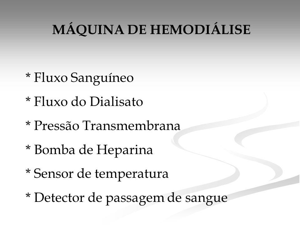 MÁQUINA DE HEMODIÁLISE * Fluxo Sanguíneo * Fluxo do Dialisato * Pressão Transmembrana * Bomba de Heparina * Sensor de temperatura * Detector de passagem de sangue