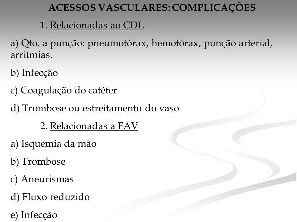 ACESSOS VASCULARES: COMPLICAÇÕES 1.Relacionadas ao CDL a) Qto.