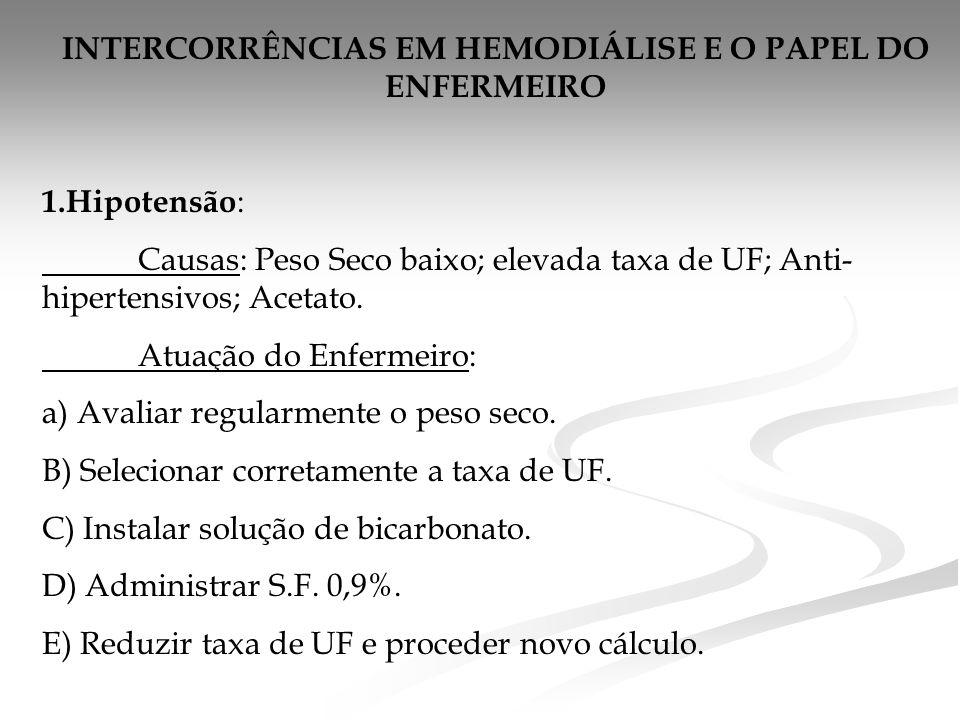 INTERCORRÊNCIAS EM HEMODIÁLISE E O PAPEL DO ENFERMEIRO 1.Hipotensão : Causas: Peso Seco baixo; elevada taxa de UF; Anti- hipertensivos; Acetato.