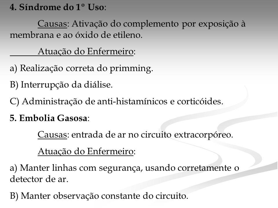 4. Síndrome do 1º Uso : Causas: Ativação do complemento por exposição à membrana e ao óxido de etileno. Atuação do Enfermeiro: a) Realização correta d