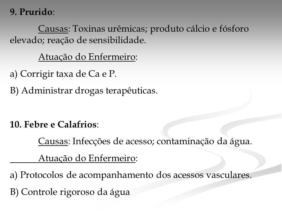 9.Prurido : Causas: Toxinas urêmicas; produto cálcio e fósforo elevado; reação de sensibilidade.
