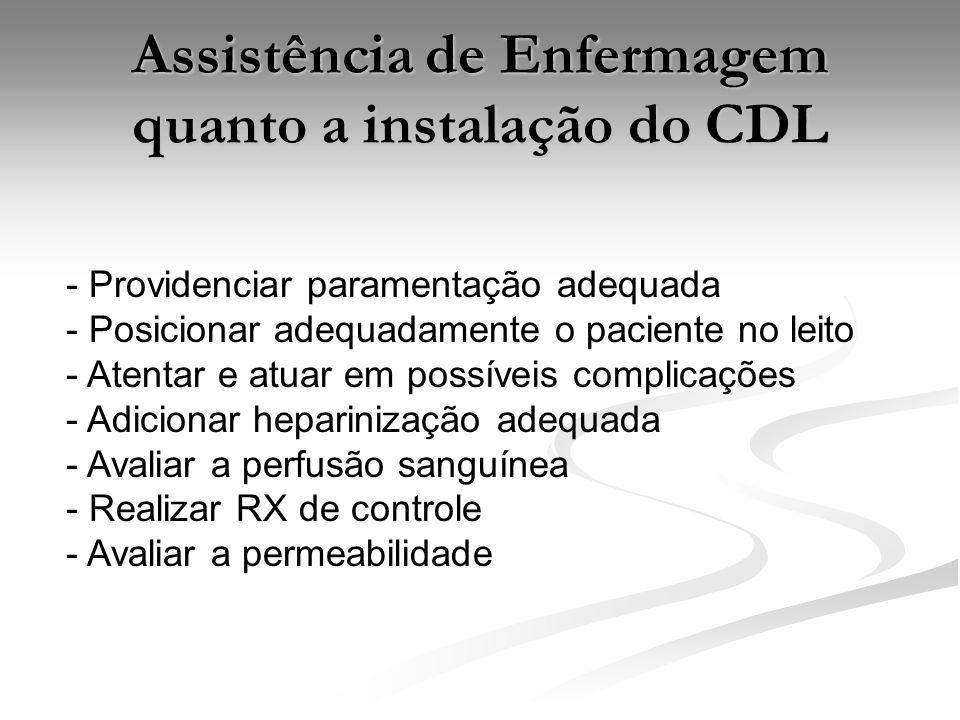 Assistência de Enfermagem quanto a instalação do CDL - Providenciar paramentação adequada - Posicionar adequadamente o paciente no leito - Atentar e atuar em possíveis complicações - Adicionar heparinização adequada - Avaliar a perfusão sanguínea - Realizar RX de controle - Avaliar a permeabilidade