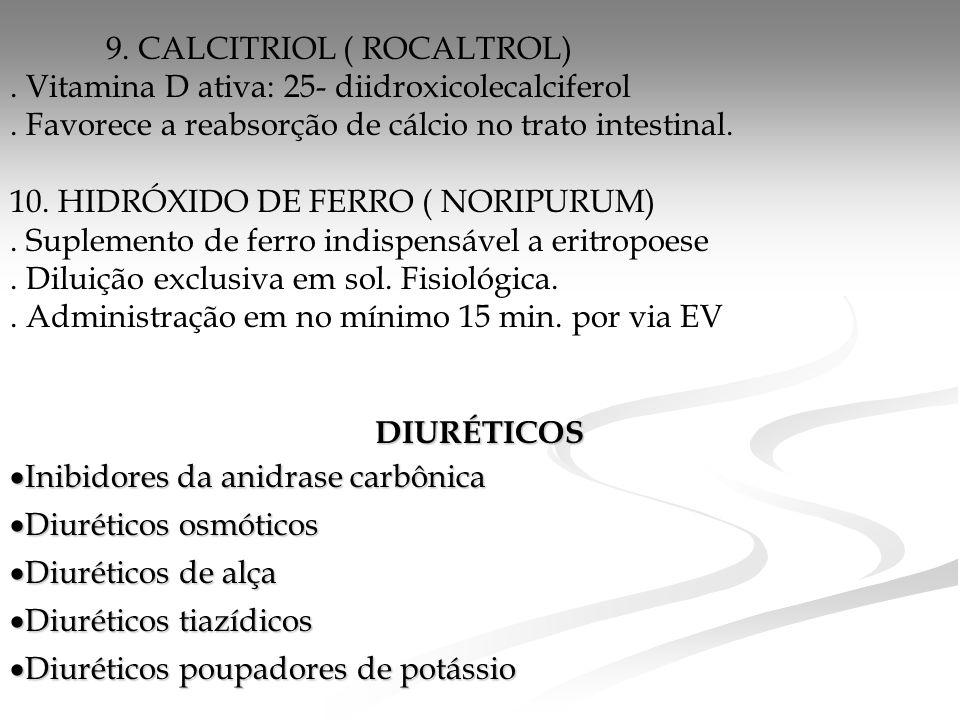 9.CALCITRIOL ( ROCALTROL). Vitamina D ativa: 25- diidroxicolecalciferol.