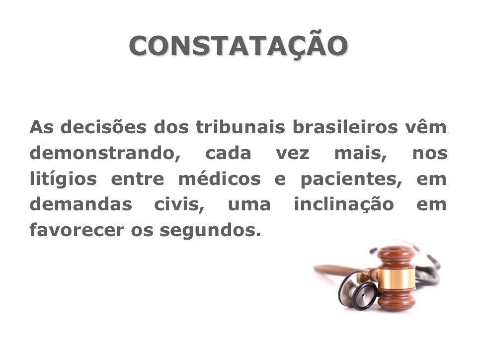 As decisões dos tribunais brasileiros vêm demonstrando, cada vez mais, nos litígios entre médicos e pacientes, em demandas civis, uma inclinação em fa