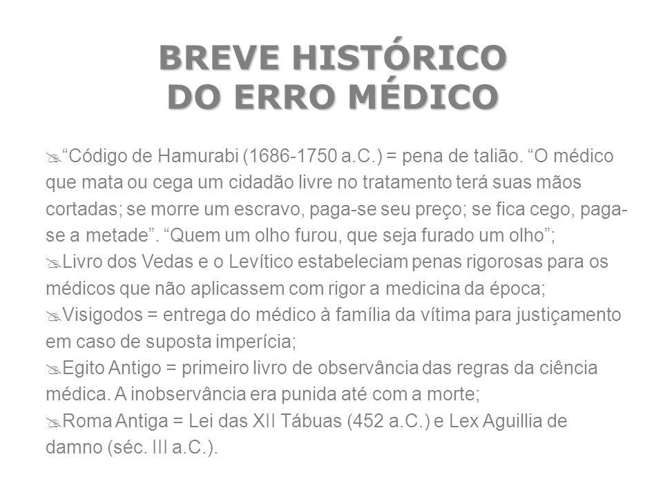 """BREVE HISTÓRICO DO ERRO MÉDICO  """"Código de Hamurabi (1686-1750 a.C.) = pena de talião. """"O médico que mata ou cega um cidadão livre no tratamento terá"""
