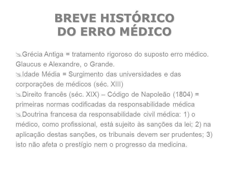 BREVE HISTÓRICO DO ERRO MÉDICO  Grécia Antiga = tratamento rigoroso do suposto erro médico. Glaucus e Alexandre, o Grande.  Idade Média = Surgimento