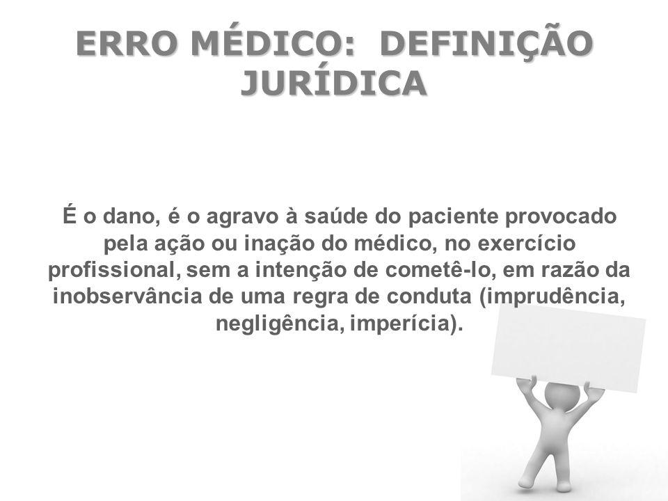 ERRO MÉDICO: DEFINIÇÃO JURÍDICA É o dano, é o agravo à saúde do paciente provocado pela ação ou inação do médico, no exercício profissional, sem a int