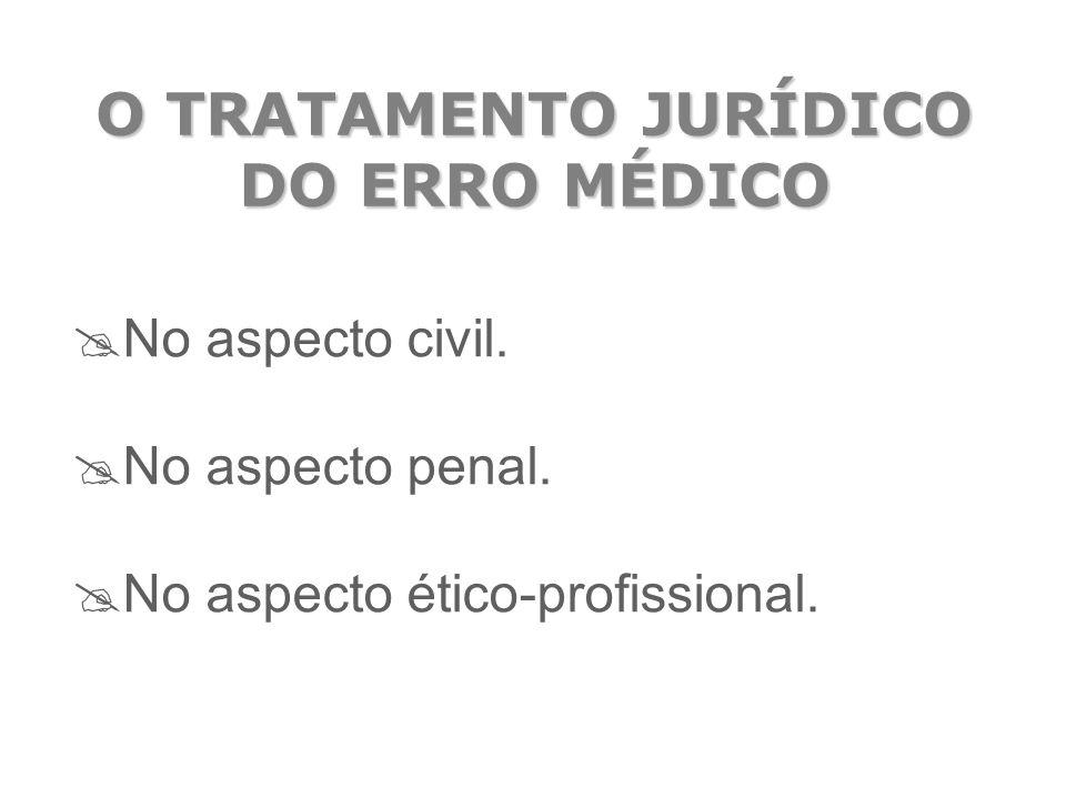 O TRATAMENTO JURÍDICO DO ERRO MÉDICO  No aspecto civil.  No aspecto penal.  No aspecto ético-profissional.