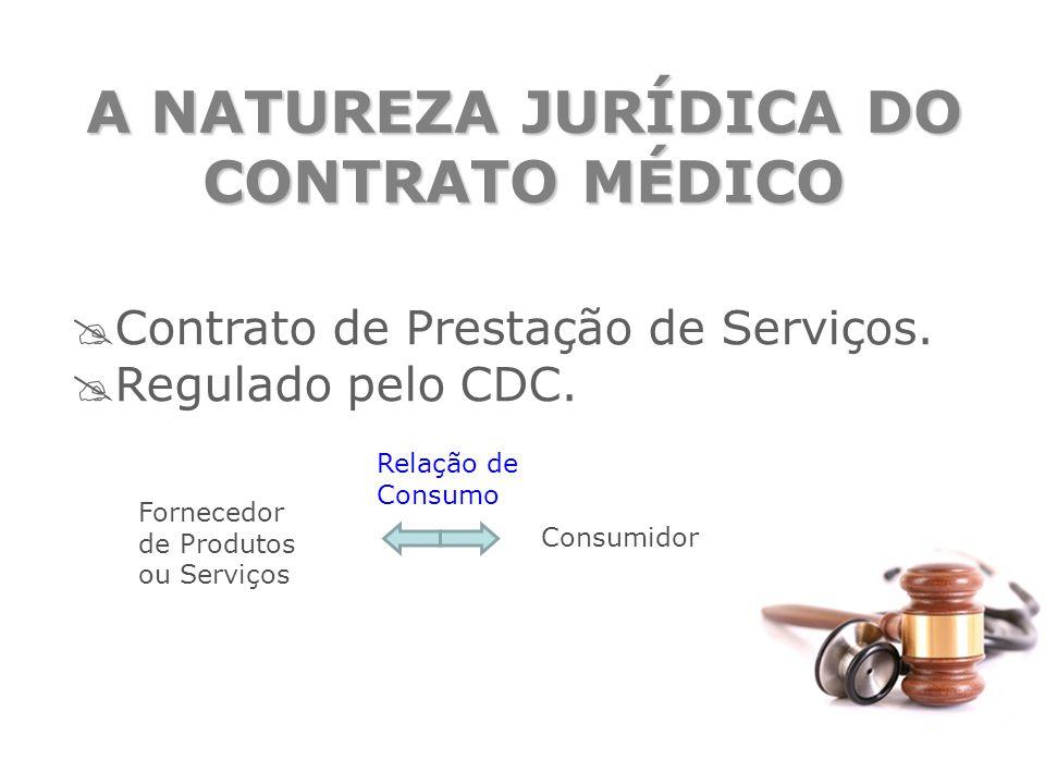 A NATUREZA JURÍDICA DO CONTRATO MÉDICO  Contrato de Prestação de Serviços.  Regulado pelo CDC. Fornecedor de Produtos ou Serviços Consumidor Relação