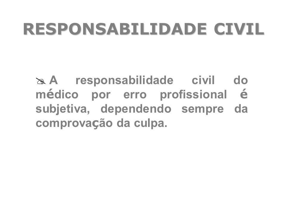 RESPONSABILIDADE CIVIL  A responsabilidade civil do m é dico por erro profissional é subjetiva, dependendo sempre da comprova ç ão da culpa.