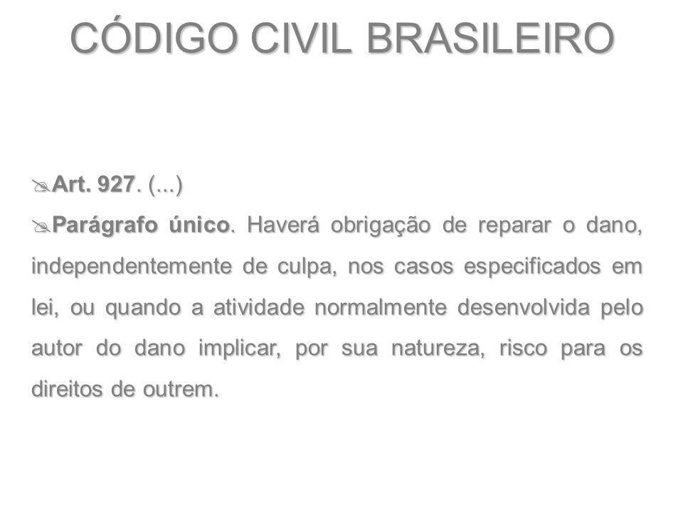 CÓDIGO CIVIL BRASILEIRO  Art. 927. (...)  Parágrafo único. Haverá obrigação de reparar o dano, independentemente de culpa, nos casos especificados e