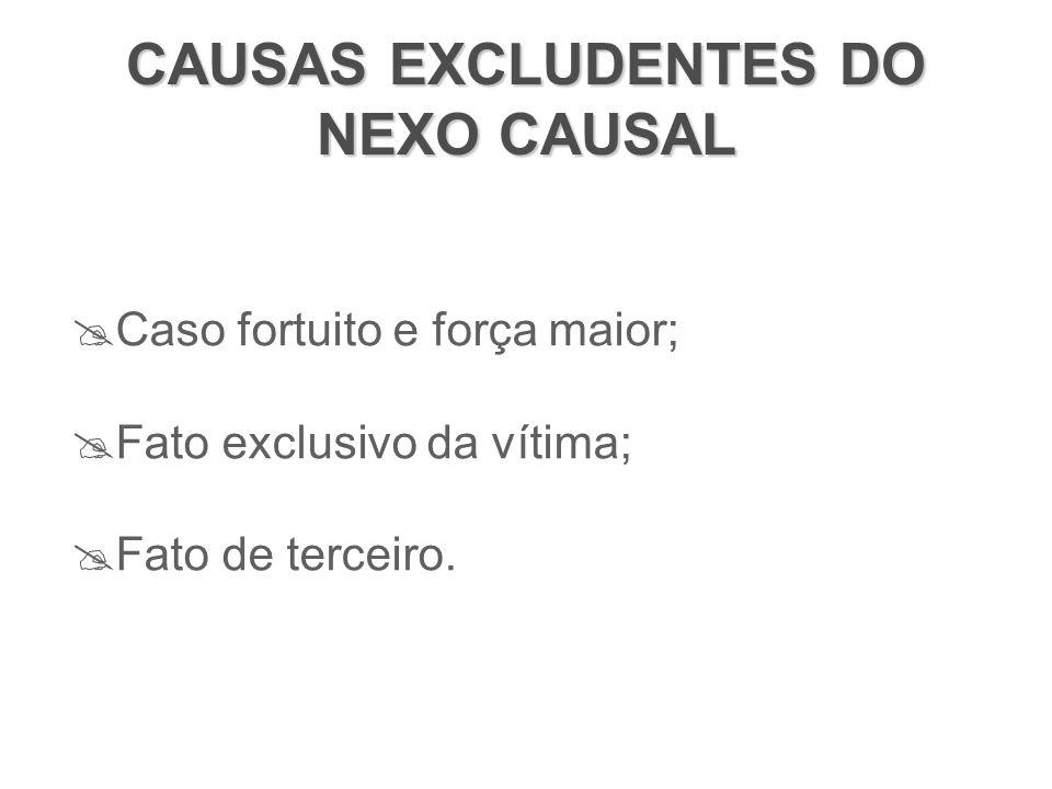 CAUSAS EXCLUDENTES DO NEXO CAUSAL  Caso fortuito e força maior;  Fato exclusivo da vítima;  Fato de terceiro.
