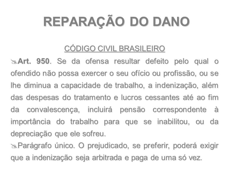 REPARAÇÃO DO DANO CÓDIGO CIVIL BRASILEIRO  Art. 950. Se da ofensa resultar defeito pelo qual o ofendido não possa exercer o seu ofício ou profissão,