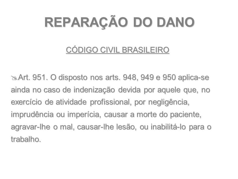 REPARAÇÃO DO DANO CÓDIGO CIVIL BRASILEIRO  Art. 951. O disposto nos arts. 948, 949 e 950 aplica-se ainda no caso de indenização devida por aquele que