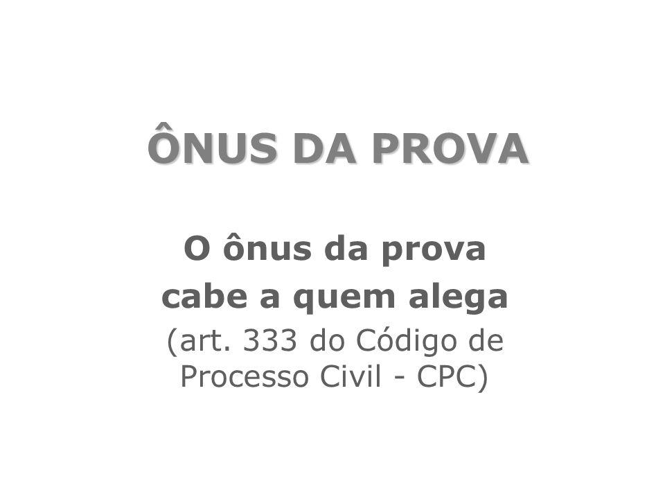 ÔNUS DA PROVA O ônus da prova cabe a quem alega (art. 333 do Código de Processo Civil - CPC)