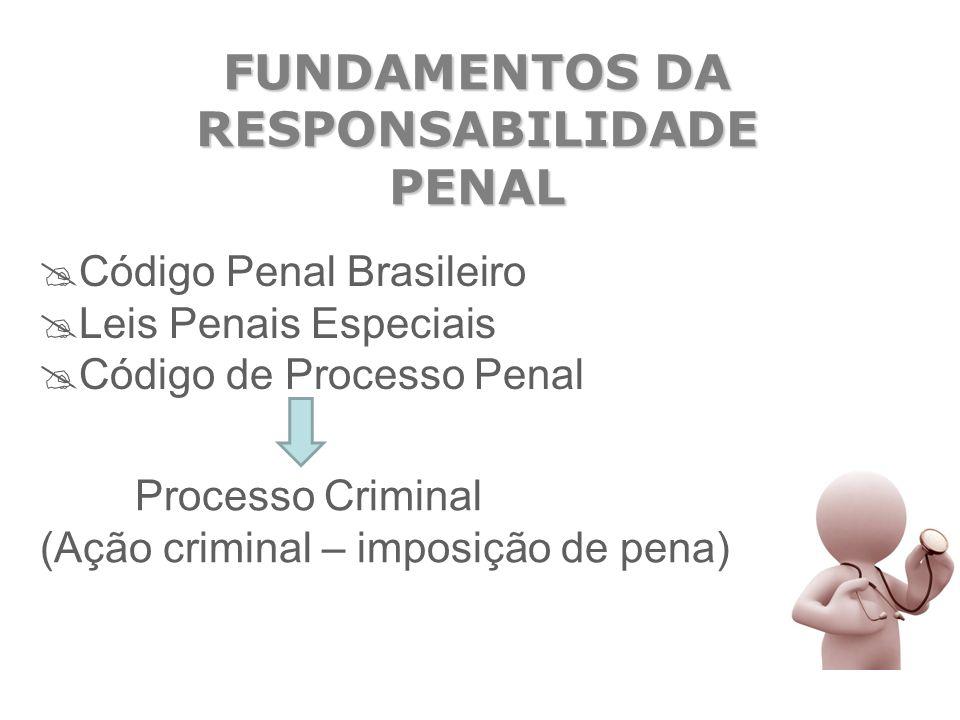FUNDAMENTOS DA RESPONSABILIDADE PENAL  Código Penal Brasileiro  Leis Penais Especiais  Código de Processo Penal Processo Criminal (Ação criminal –