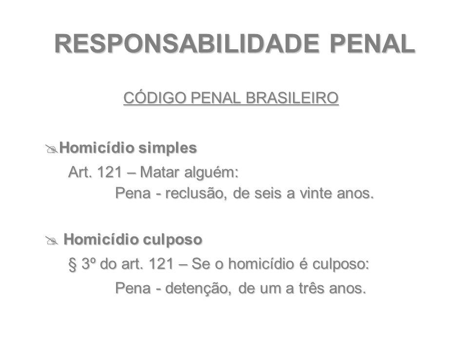 RESPONSABILIDADE PENAL CÓDIGO PENAL BRASILEIRO  Homicídio simples Art. 121 – Matar alguém: Pena - reclusão, de seis a vinte anos. Pena - reclusão, de