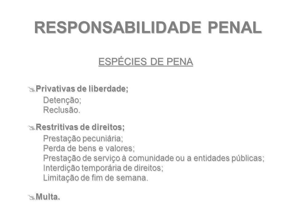 RESPONSABILIDADE PENAL ESPÉCIES DE PENA  Privativas de liberdade; Detenção;Reclusão.  Restritivas de direitos; Prestação pecuniária; Perda de bens e