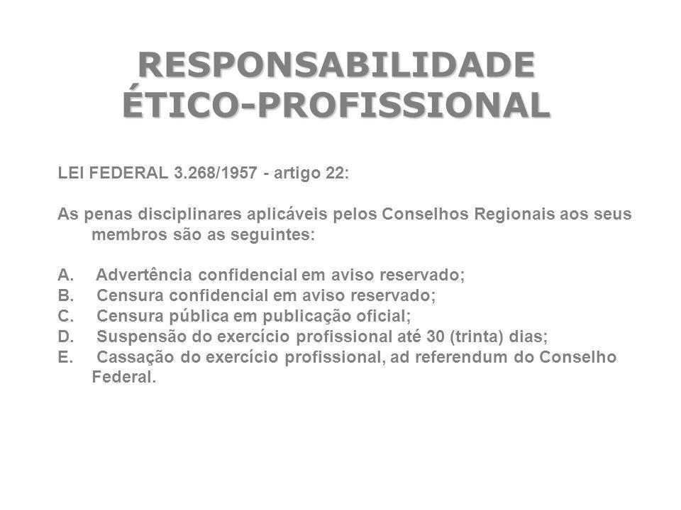 RESPONSABILIDADE ÉTICO-PROFISSIONAL LEI FEDERAL 3.268/1957 - artigo 22: As penas disciplinares aplicáveis pelos Conselhos Regionais aos seus membros s