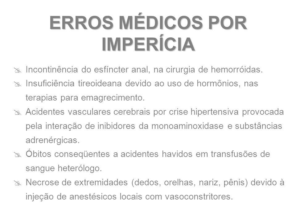  Incontinência do esfíncter anal, na cirurgia de hemorróidas.  Insuficiência tireoideana devido ao uso de hormônios, nas terapias para emagrecimento