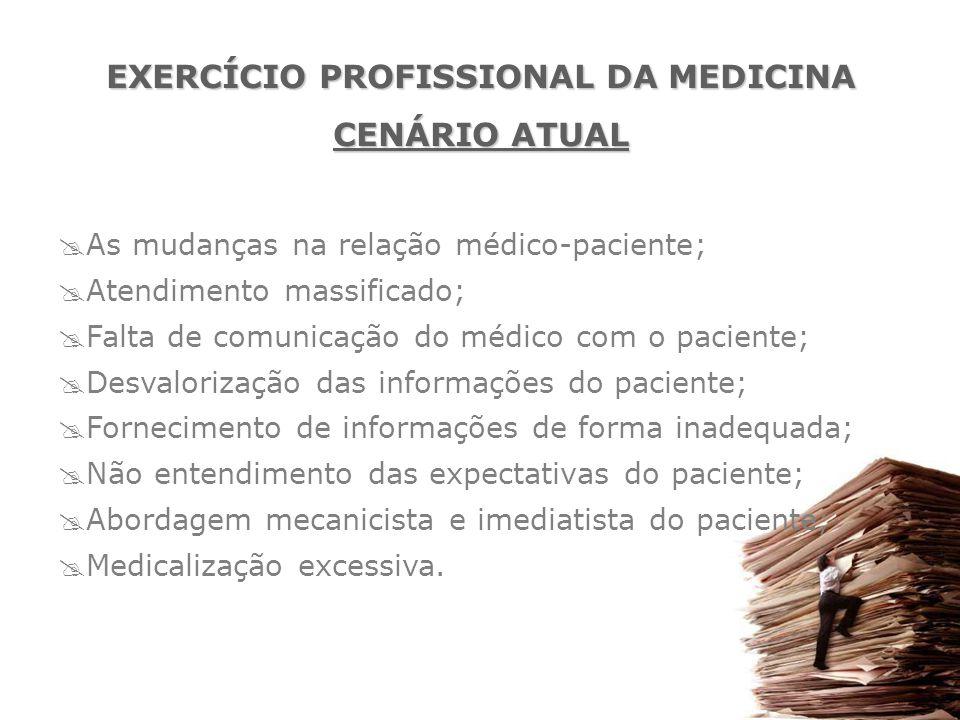  As mudanças na relação médico-paciente;  Atendimento massificado;  Falta de comunicação do médico com o paciente;  Desvalorização das informações