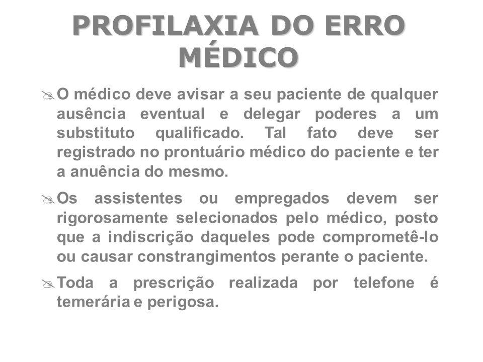  O médico deve avisar a seu paciente de qualquer ausência eventual e delegar poderes a um substituto qualificado. Tal fato deve ser registrado no pro