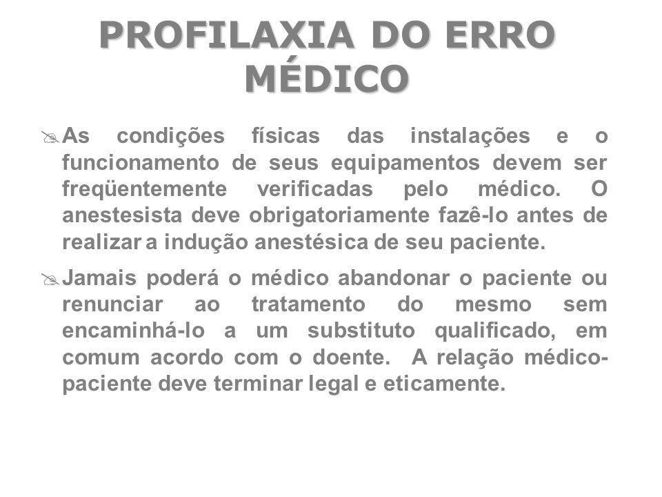  As condições físicas das instalações e o funcionamento de seus equipamentos devem ser freqüentemente verificadas pelo médico. O anestesista deve obr