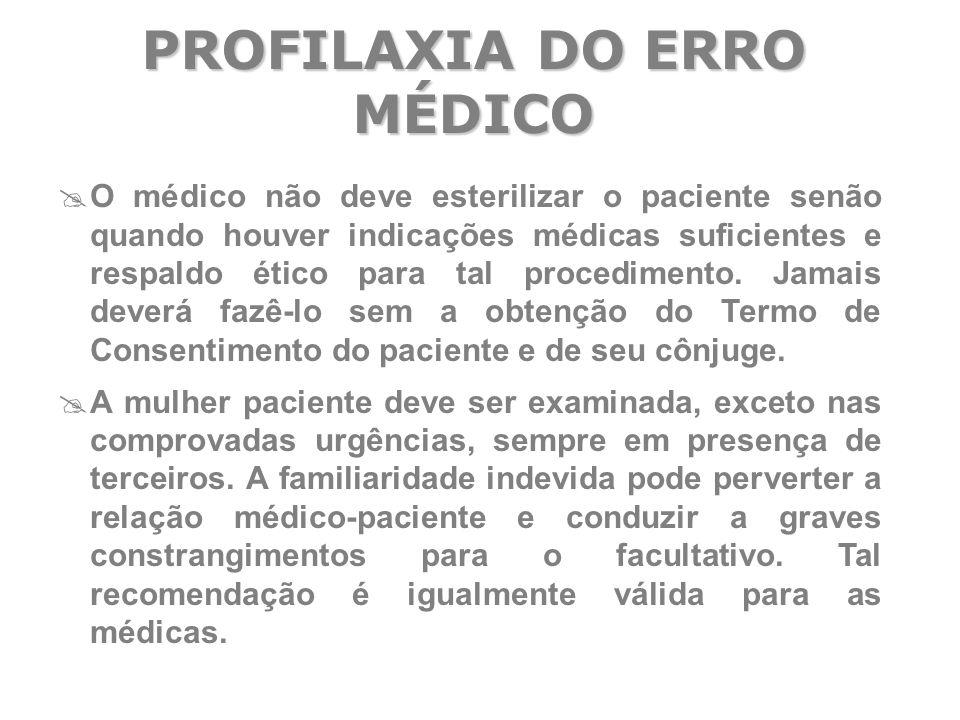  O médico não deve esterilizar o paciente senão quando houver indicações médicas suficientes e respaldo ético para tal procedimento. Jamais deverá fa