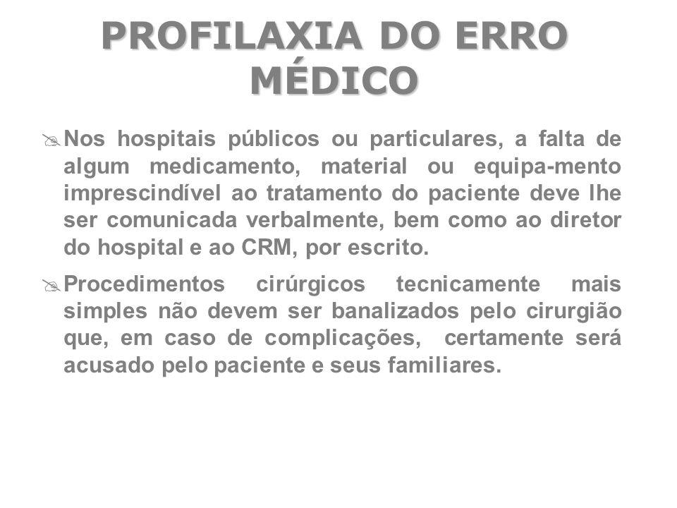  Nos hospitais públicos ou particulares, a falta de algum medicamento, material ou equipa-mento imprescindível ao tratamento do paciente deve lhe ser