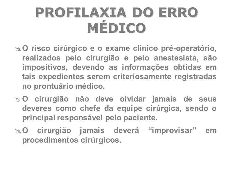  O risco cirúrgico e o exame clínico pré-operatório, realizados pelo cirurgião e pelo anestesista, são impositivos, devendo as informações obtidas em