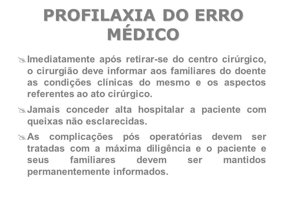  Imediatamente após retirar-se do centro cirúrgico, o cirurgião deve informar aos familiares do doente as condições clínicas do mesmo e os aspectos r