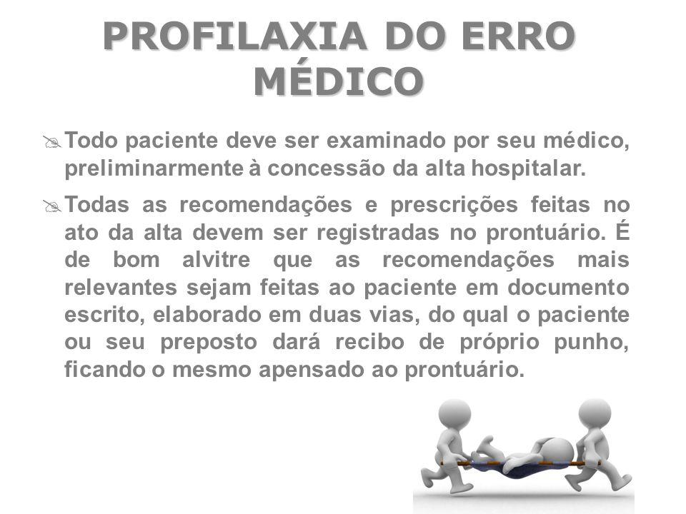  Todo paciente deve ser examinado por seu médico, preliminarmente à concessão da alta hospitalar.  Todas as recomendações e prescrições feitas no at