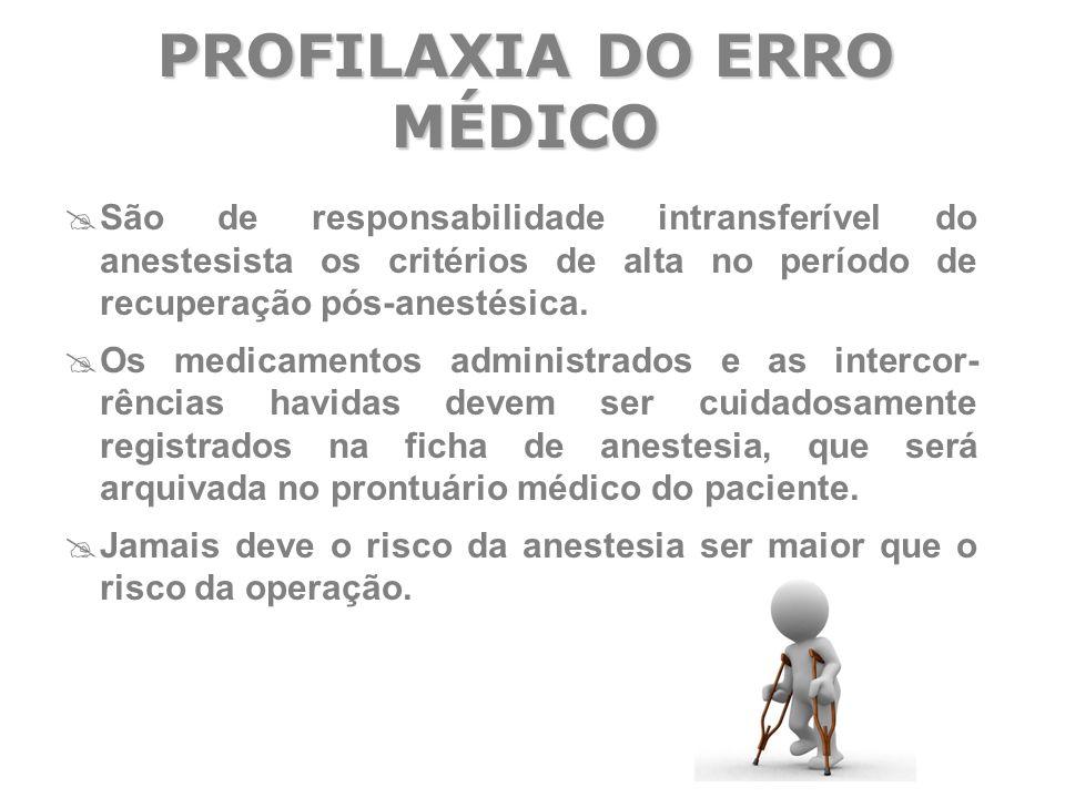  São de responsabilidade intransferível do anestesista os critérios de alta no período de recuperação pós-anestésica.  Os medicamentos administrados