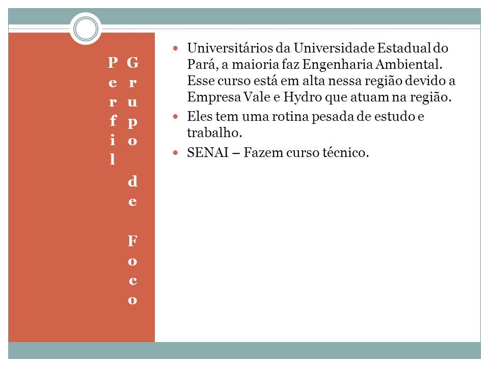 Universitários da Universidade Estadual do Pará, a maioria faz Engenharia Ambiental. Esse curso está em alta nessa região devido a Empresa Vale e Hydr