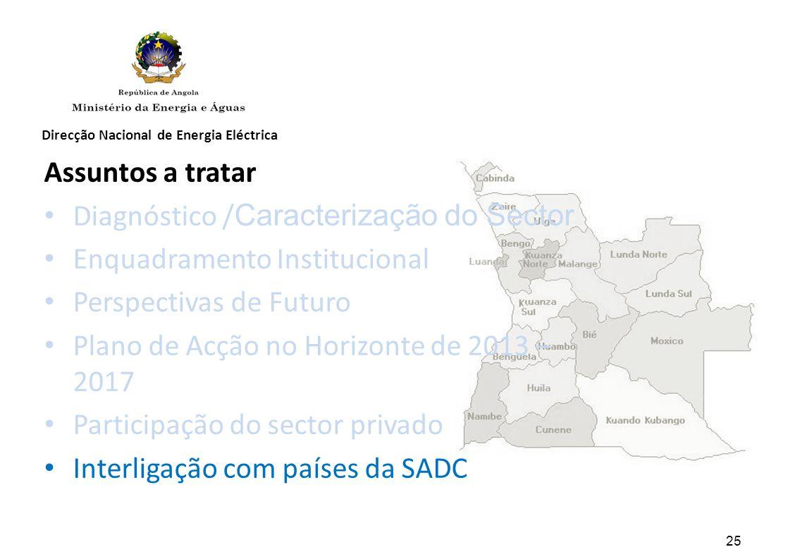 Direcção Nacional de Energia Eléctrica Assuntos a tratar Diagnóstico / Caracterização do Sector Enquadramento Institucional Perspectivas de Futuro Plano de Acção no Horizonte de 2013 – 2017 Participação do sector privado Interligação com países da SADC 25
