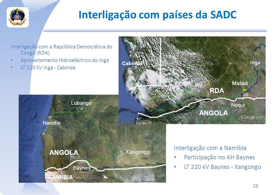 Interligação com a República Democrática do Congo (RDA) Aproveitamento Hidroeléctrico do Inga LT 220 kV Inga - Cabinda Interligação com países da SADC 26 NAMIBIA Baynes Lubango Xangongo Interligação com a Namíbia Participação no AH Baynes LT 220 kV Baynes - Xangongo Cabinda Inga RDA Noqui Matadi ANGOLA Namibe